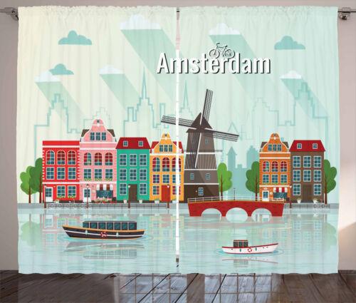 Amsterdam Curtains 2 Panel Set Decor 5 Sizes Available Window Drapes