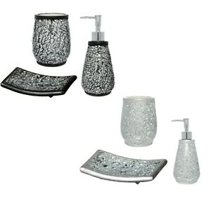 Details about Bathroom Accessories Set Soap Dish Toothbrush Holder Mosaic  Silver Black