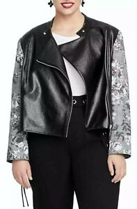 Rachel Rachel Roy Women's Charlie Moto Jacket Black Floral Size 1X Plus