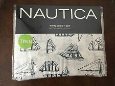 Nautica Nautical Sheet Set Boats Twin Size Boys Bedding New