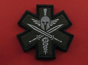 Army Military Tactical Morale Embroidered Hook /& Loop Patch Spartan Medic