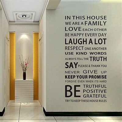 Nice Family Rules Words Removable Vinyl Decal Art Mural Home Decor Wall Sticker
