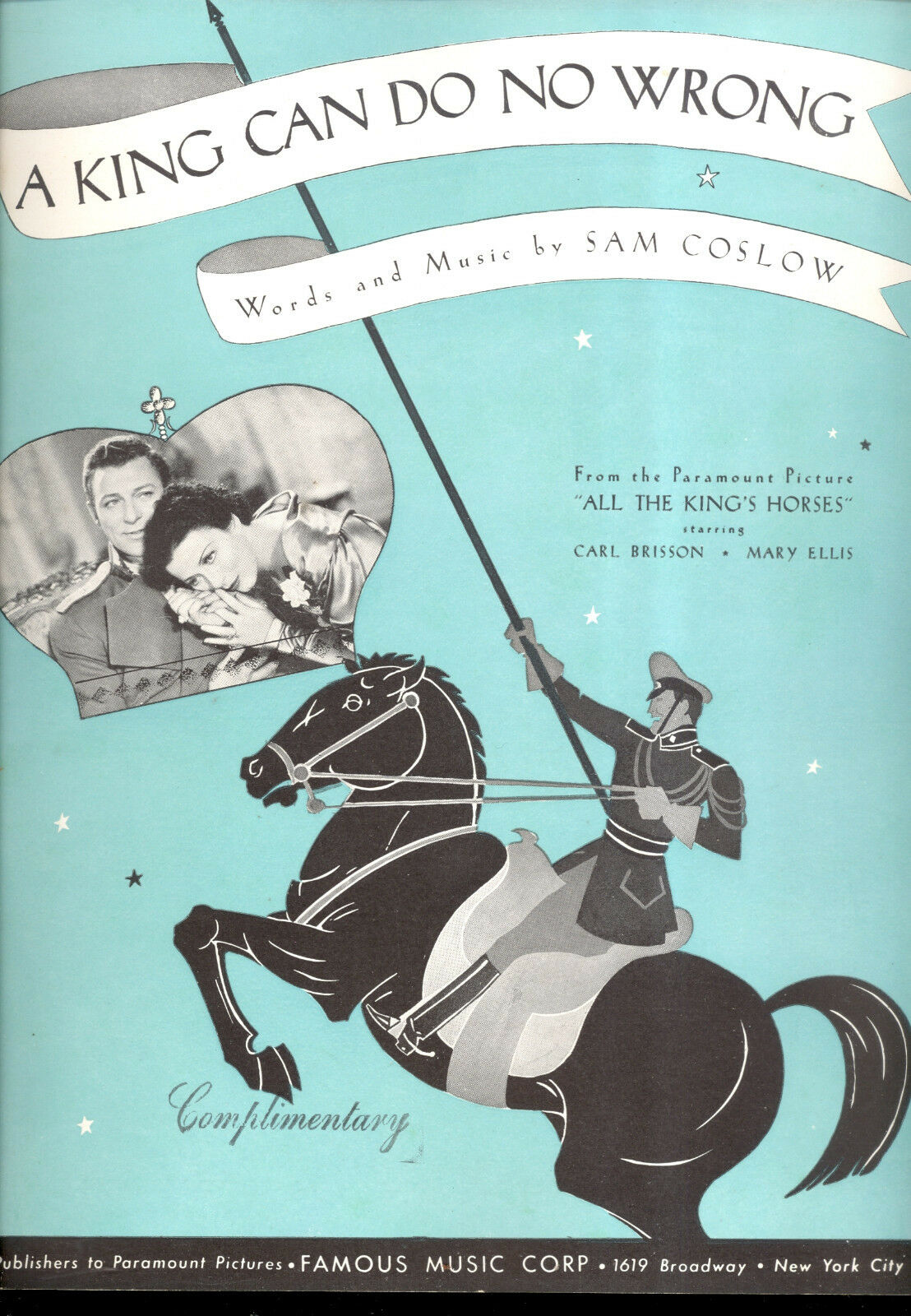 Alle KING'S Horses Notenblatt   A King Can Do No Wrong   Carl Brisson Mary Ellis