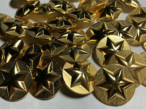"""50 Antique Brass Finish Military Star Buttons Made In Italy 15//MM 5//8/"""" Shank"""