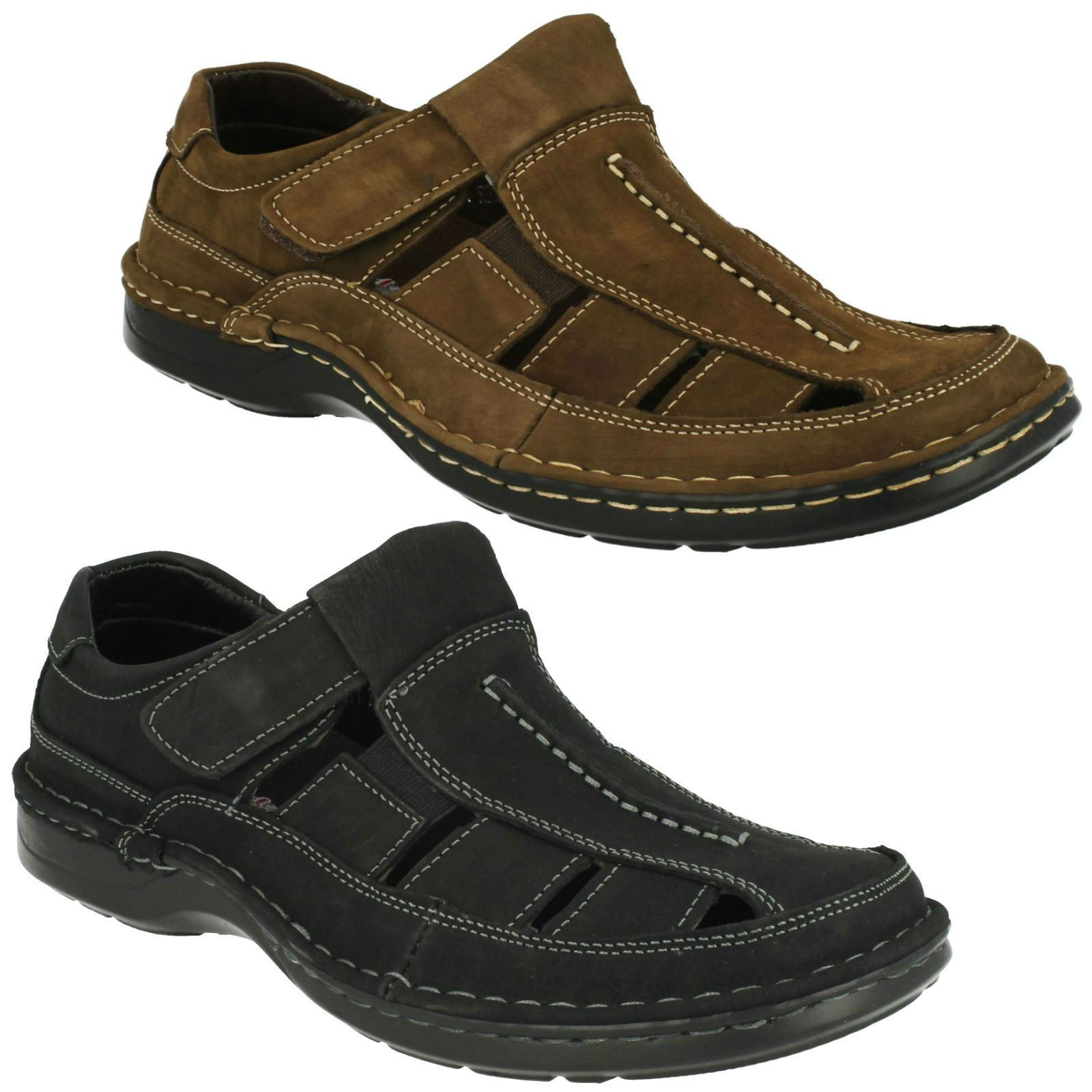Padders Breaker Mens Leather Sandals Dark Brown and Black