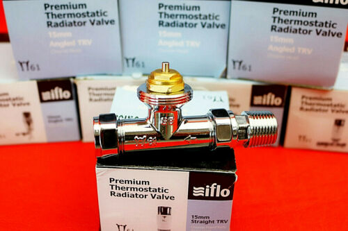 Iflo 15mm Polished Chrome TRV Replacement Head Senor//Straight Valve Body//Cover