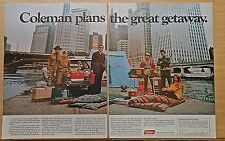 1968 two page magazine ad for Coleman - Campers escaping city with Coleman gear