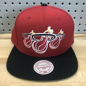 Miami-Heat-NBA-Basketball-Mitchell-amp-Ness-SnapBack-Cap-EUC-Hat-Triple-Logo