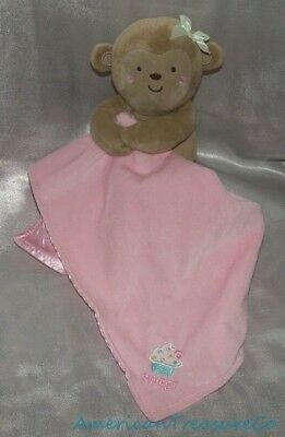 Loyal Carters Baby Soft Plush Monkey Rattle Pink Sweet Cupcake Lovey Security Blanket Be Novel In Design