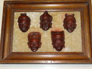 Beau-Cadre-compose-de-5-Tetes-de-Chinois-en-Bois-sculptees-avec-leurs-dents
