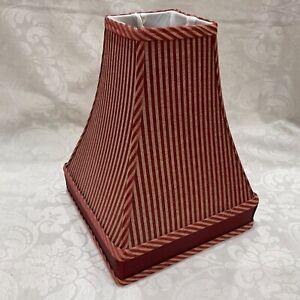 "11.5"" H x 9"" Square Lamp Shade Fabric Red Burgundy Maroon Stripe Gold Tan Trim"