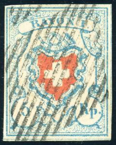 SCHWEIZ-1851-MiNr-9-II-Stein-C-2-gestempelt-Befund-Hermann-Mi-130
