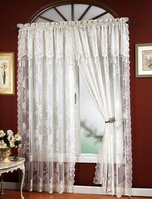 """Carley Lace Panel 56"""" X 84"""" with 17-inch Attached Valance Color Ecru Ivory"""