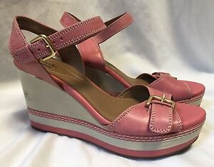 86b729a9040 Clarks ZIA Wedges Sandals Women s 9M Pink Coral Buckles Canvas Heels ...