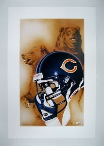 """Chicago Bears NFL Football 20"""" x 30"""" Team Lithograph Print by Kelly Russell"""