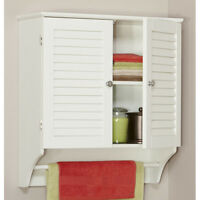 White Bathroom Multi-shelf Wall Mount Cabinet Home Living Furniture