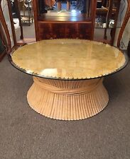 Offered for sale is a vintage McGuire Style Wheat Sheaf coffee table with glass