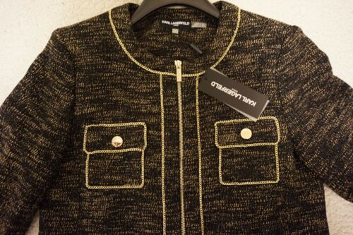 KARL LAGERFELD  Chain-Trim Tweed-Look Jacket Brand New Collection 2019
