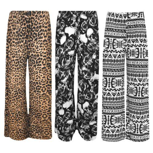 Womens Italian Palazzo Trouser Ladies Wide Leg Flared Baggy Bottom Trouser Pant
