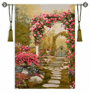 Floral Arch View Garden Gate Scene Flowers Large Tapestry