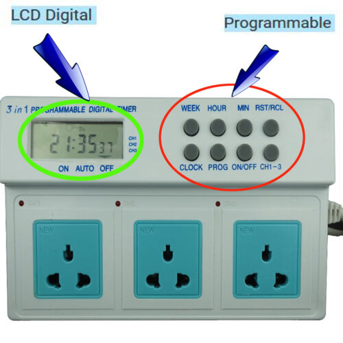 Digital LCD Display UK Plug In Programmable Timer Switch Socket 24hr 7-Day