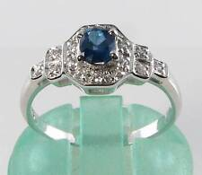 CLASs 9CT 9K WHITE GOLD BLUE SAPPHIRE & DIAMOND ART DECO INS RING FREE RESIZE