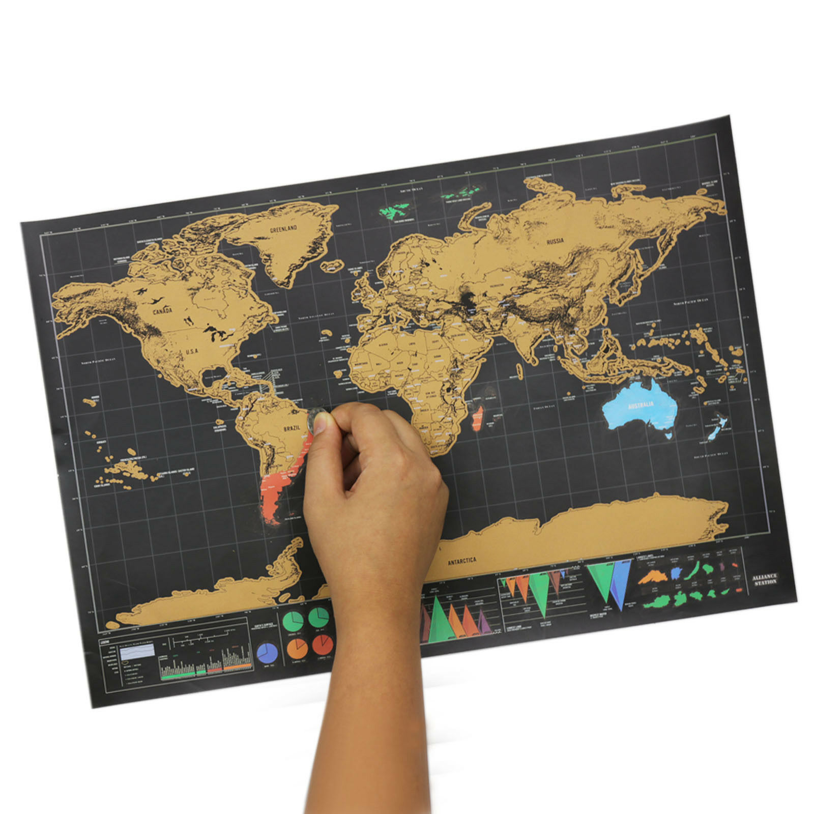 Scratch Off World Map Poster Interactive Travel Atlas Decor Large Deluxe Gift AU 9