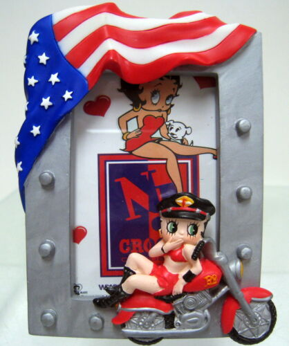 New BIKER BETTY BOOP AMERICAN RIDER US FLAG PHOTO FRAME 2x3 Picture Frames