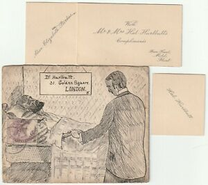 1890-PEN-amp-INK-ILLUSTRATED-COVER-FLINT-DUPLEX-WALES-TO-Dr-HURLBUTT-LONDON
