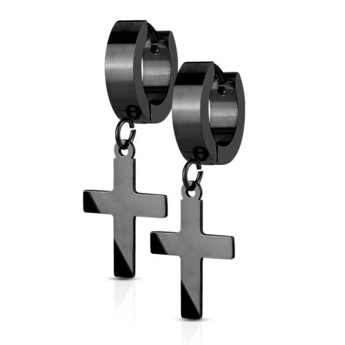 Klappcreolen Creolen Kreuz Anhänger Herren Damen Edelstahl Cross