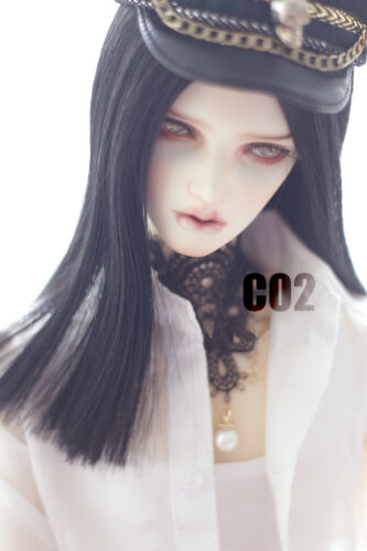 New 8-9/'/' 21-23.5cm Black  Long Straight Wig For 1//3 SD LUTS PULLIP BJD Wig