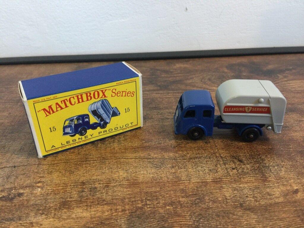 Lesney Matchbox Nº 15 ruedas negras camión recolector de basuras tippax