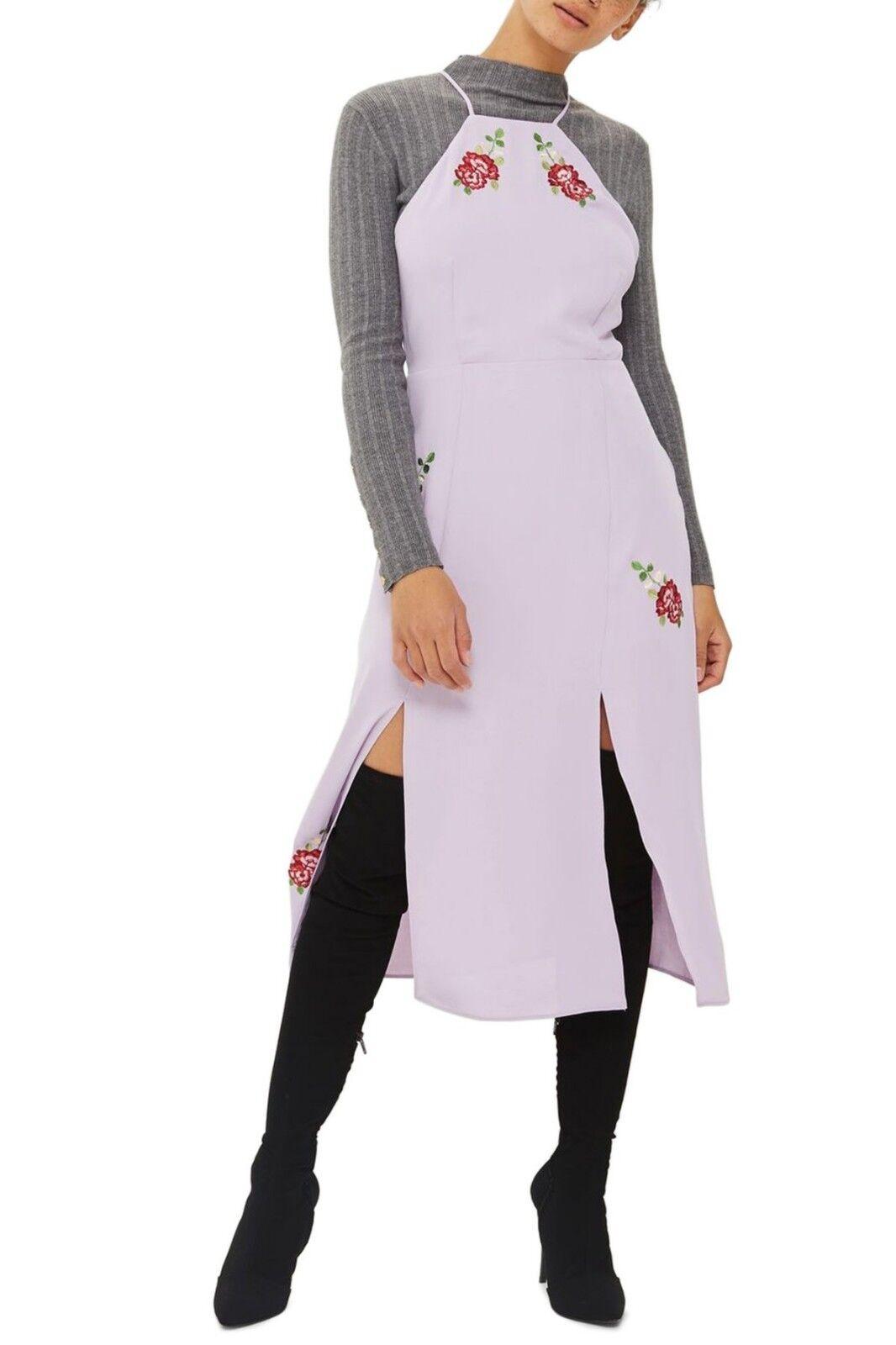 TOPSHOP Embroidered Midi Slip dress