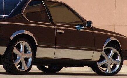 4 BAGUETTES  PROTECTION BAS DE PORTE DROIT ET GAUCHE CHROME BMW-SERIE 5 E28