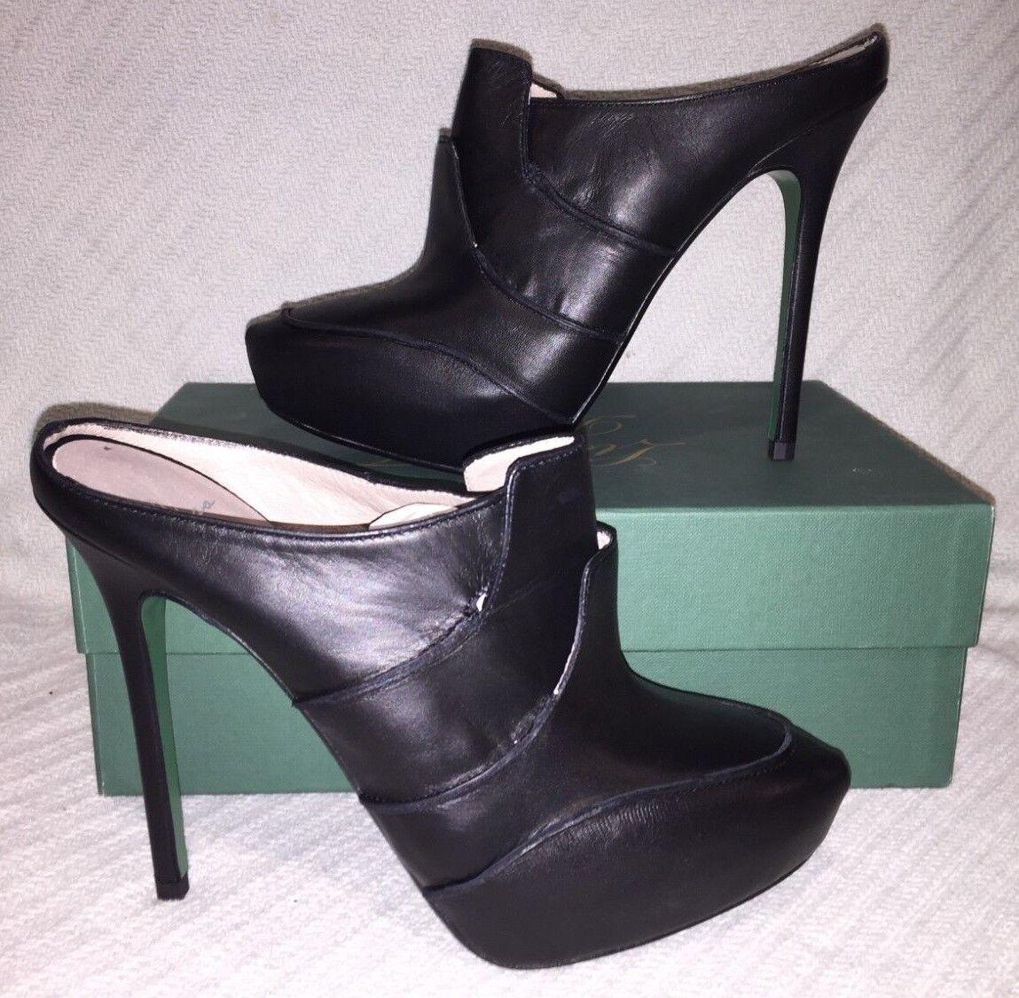 Lisa for Donald J Pliner Cristel-35 Black Vachetta Backless High Stiletto Pumps