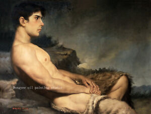 24x32-034-Art-prints-canvas-lying-men-male-nude-from-oil-painting-200-photos-listed