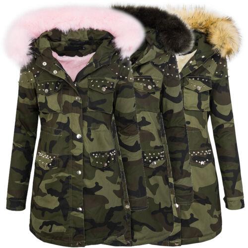 Donna Invernale Parka Giacca Army-Look Donna Giacca Pelliccia sintetica cappuccio con borchie d-231