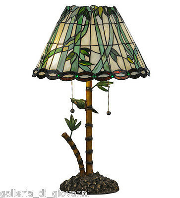 Tiffany Style Stained Glass Lamp Parrot & Bamboo Tropical Light leaf Emerald