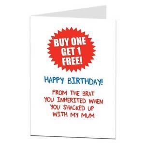 Funny Birthday CARD FATHERS DAY DAD joke step humour banter stepdad pop cheeky