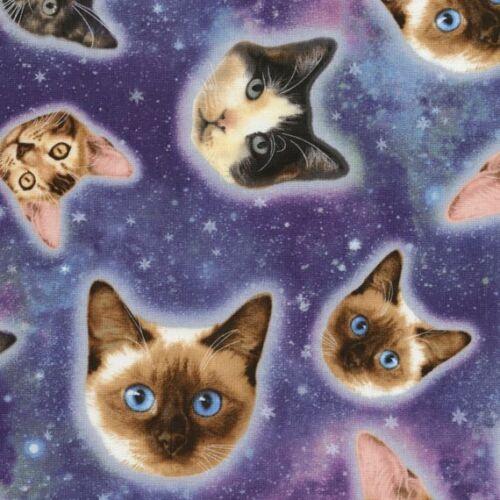 Cuarto gordo Galaxy Gatos espacio Estrella 100/% algodón Quilting fabric Cosmos