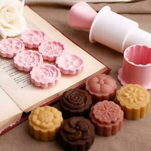 New Version Concave Round Moon Cake Mold 150g//185g 1 Barrel 6 Stamps