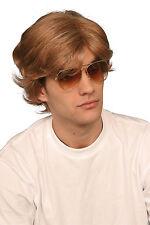 1980's 80's Brown George Michael Popstar Mens Fancy Dress Wig P8095