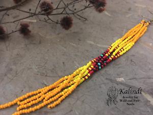 7-034-Extra-Long-Yellow-Beaded-Earrings-Ombre-Shoulder-Dusters-Long-Seed-Bead-Earrin