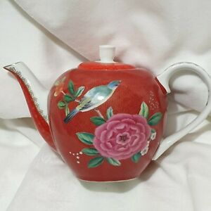 Pip-Studio-Blushing-Birds-Red-Small-750-ml-Teapot-With-Flowers-And-Birds-BNWT