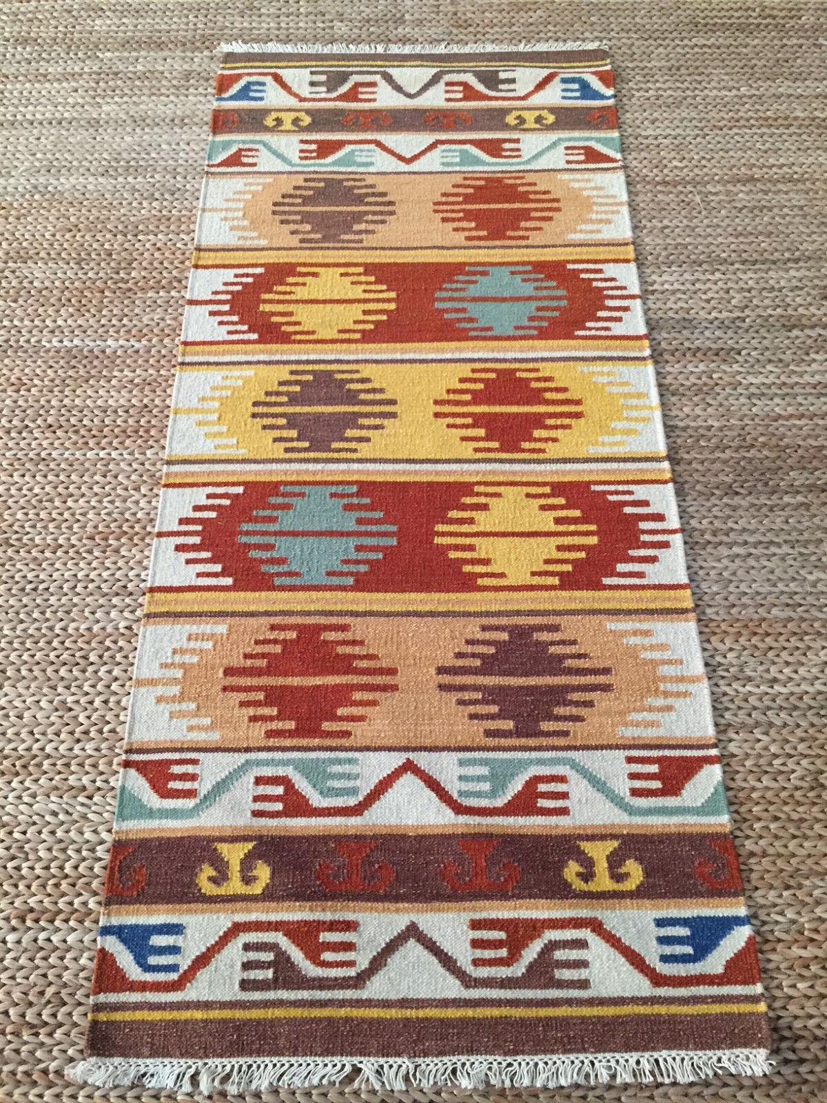 2'6x6 Wool Kilim Hand Woven Flat Weave Tribal Rug Southwestern Reversible. NEW