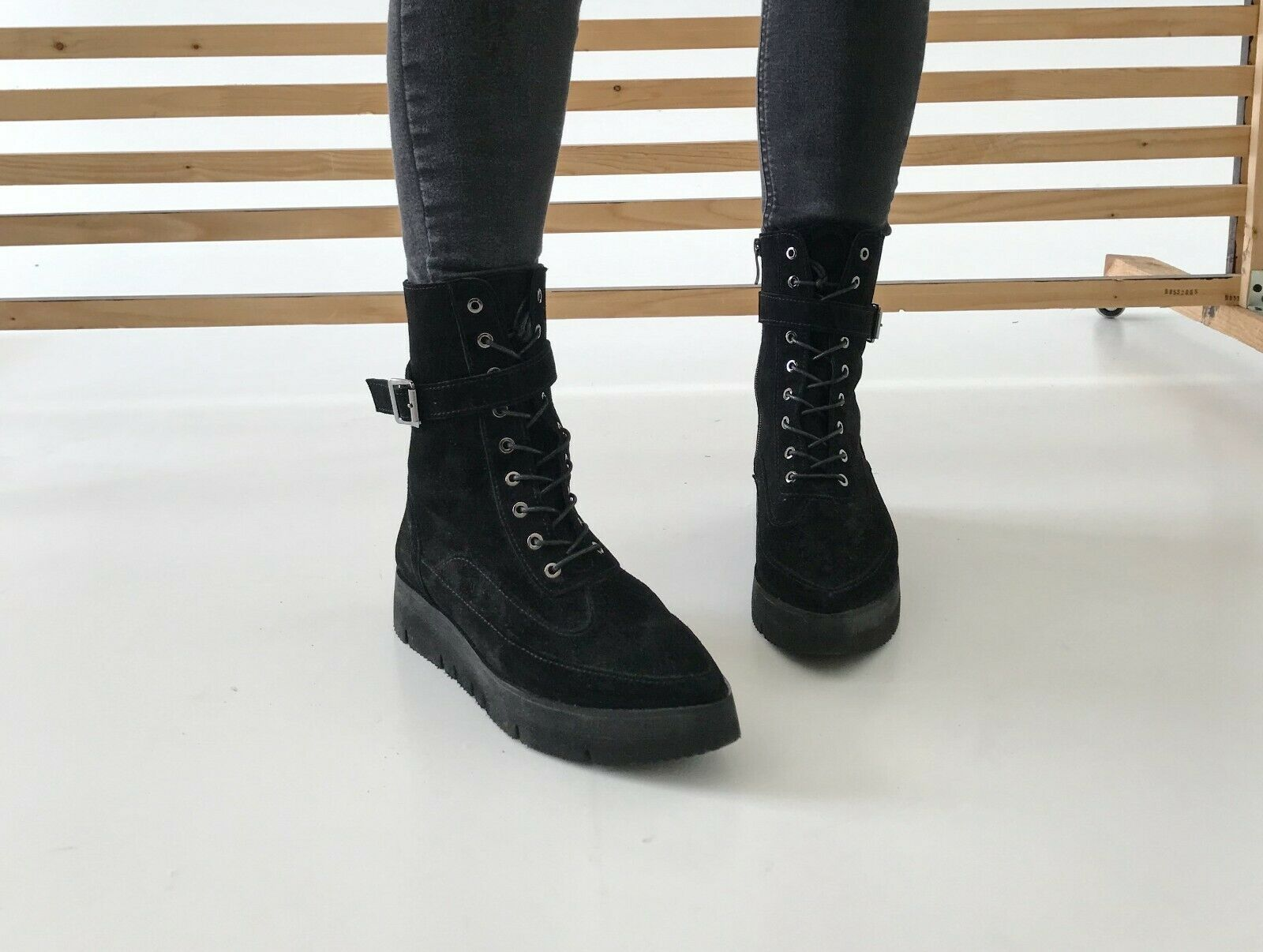 Black suede pointed toe combat boots for womens size 8-8.5 Handmade