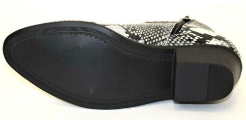 Men/'s Dress//Casual Ankle Boots Black//White Snake Print Side Zippered Cuban Heel