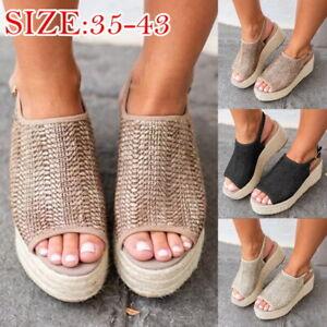 Summer-Women-Platform-Sandals-Woven-Flat-Beach-Roman-Peep-Toe-Wedge-Shoes-NG09
