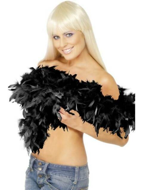 DELUXE FEATHER BOA, BLACK, SEXY, WOMENS