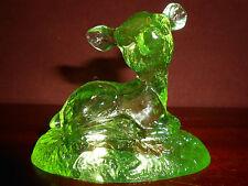 neon Green Vaseline glass Bingo Deer fawn buck uranium yellow paperweight animal